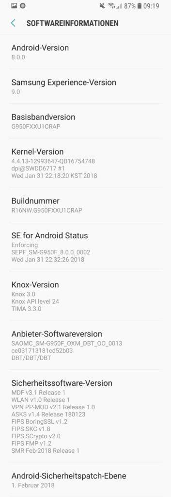 samsung galaxy s8 android 8 oreo