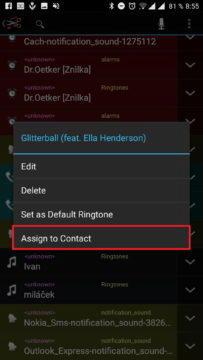 Přiřazení vyzvánění ke kontaktu