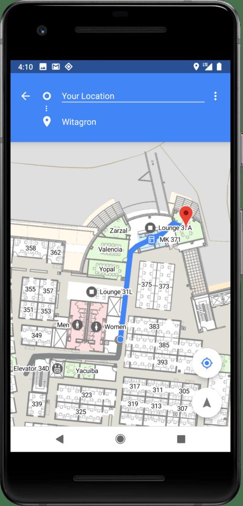 android p poloha v budovach