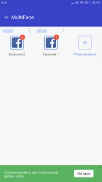 Více účtů Facebooku - MultiFace