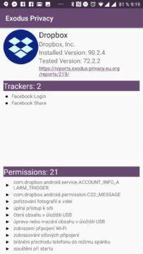 Exodus Privacy - Oprávnění aplikace Dropbpx