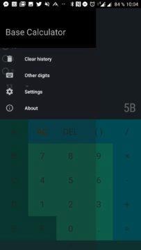 Převody android aplikace - Postranní nabídka
