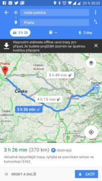 Trasa podle Map Google