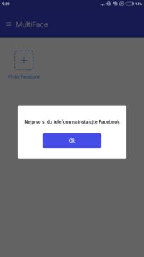 MultiFace - Vyžaduje oficiální aplikaci Facebook