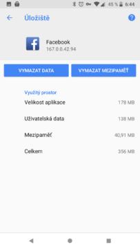 android mezipamet uzivatelska data vymazat