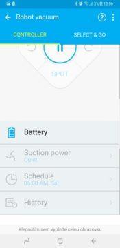 baterie aplikace samsung smarthome powerbot vr9300