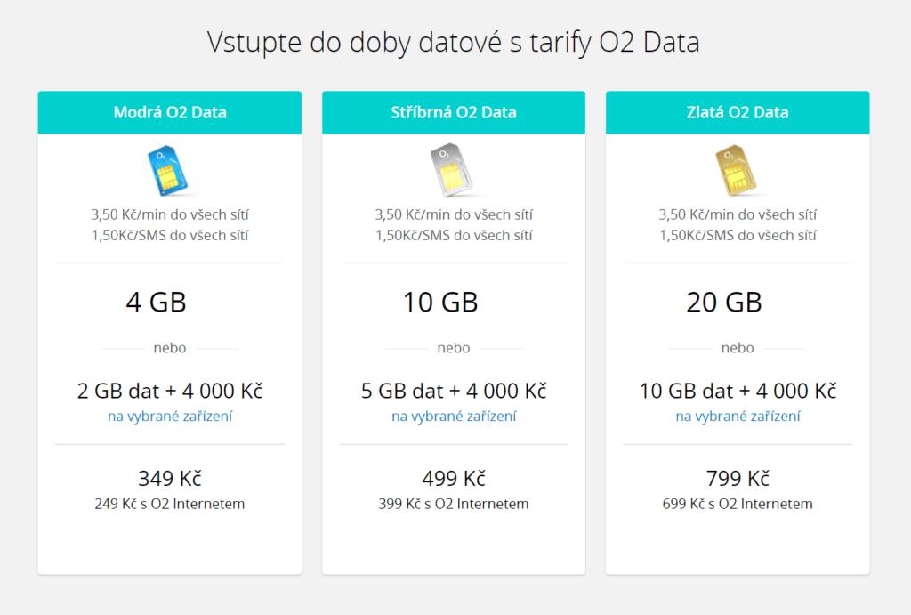 nove O2 tarify data internet mobilni