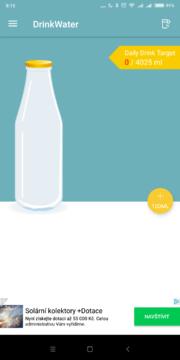 Úvodní obrazovka Drink Water Reminder