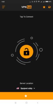 Úvodní obrazovka VPNhub