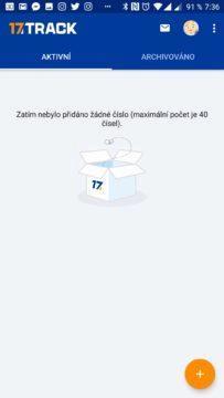 Úvodní obrazovka aplikace 17Track