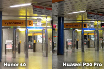 Honor 10 vs Huawei P20 Pro fotografie metro test