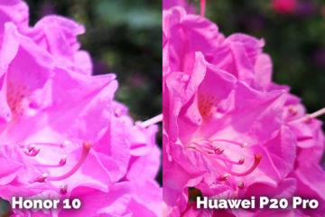 Honor 10 vs Huawei P20 Pro kytka ruzova