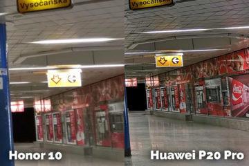 Honor 10 vs Huawei P20 Pro metro vstup detail foto