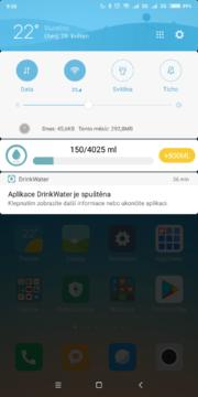 Informace v notifikacích Drink Water Reminder