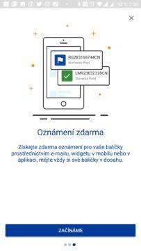 Informace v notifikacích 17Track android
