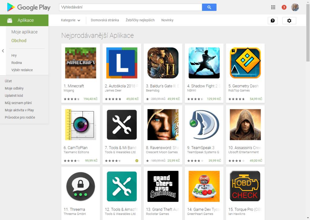 Nakupujete aplikace v Obchodě Play?