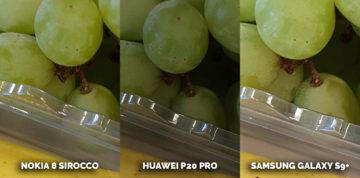 Nejlepší fotomobil Nokia 8 Sirocco vs Huawei P20 Pro vs Samsung Galaxy S9 Plus - hrozny, banan