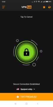 Nyní jsme připojeni VPNhub