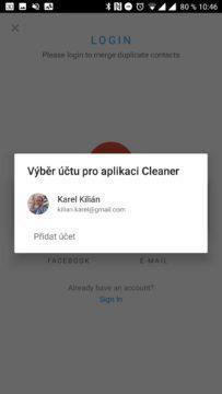 Aplikace Cleaner Přístup k účtu Google
