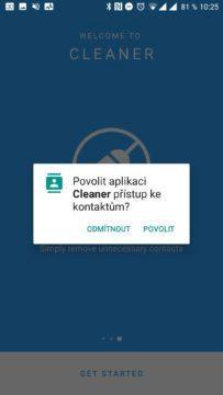 Aplikace Cleaner Přístup ke kontaktům