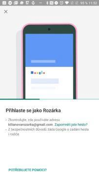 Přihlášení dítětě Google Family Link