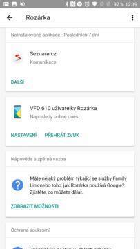 Google Family Link Poslední nainstalované programy