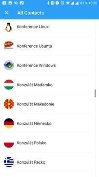 Aplikace Cleaner Seznam kontaktů