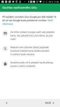 Souhlas rodiče Google Family Link