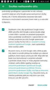 Souhlas s podmínkami Google Family Link