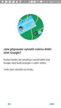 Vytvoření dětského účtu Google Family Link