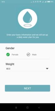 Zadání údajů Drink Water Reminder