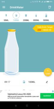 Zadávání jiných objemů Drink Water Reminder