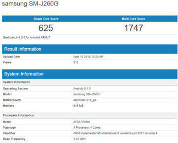 samsung galaxy j2 core benchmark informace android go
