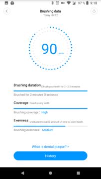 statistiky cisteni zubu xiaomi sonicky kartacek