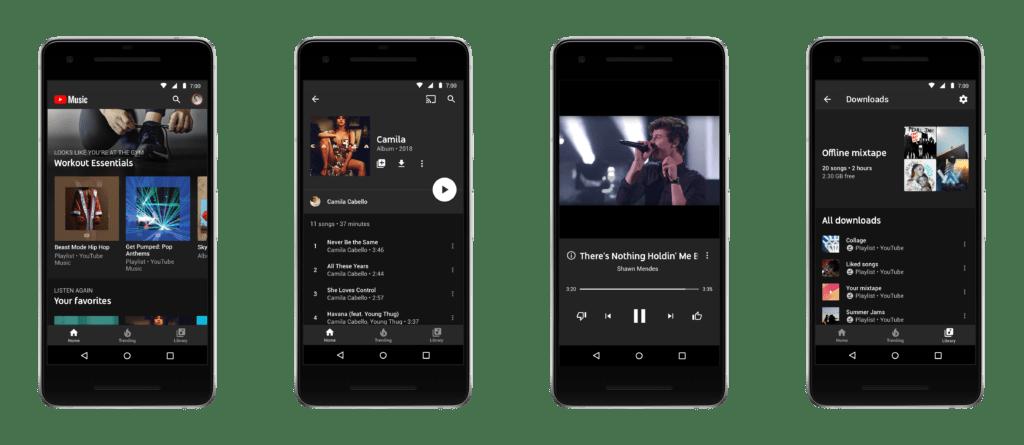 youtube music aplikace novinky