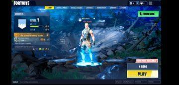 Fortnite hlavni menu hrani na Android telefonu