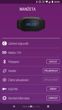 GoBe2 aplikace stav propojení