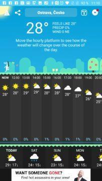 Hlavní obrazovka programu CARROT Weather android