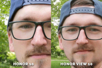 Honor 10 vs. Honor View 10 selfie detail