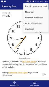 Atomic Clock & Watch Accuracy Tool Kontextová nabídka aplikace