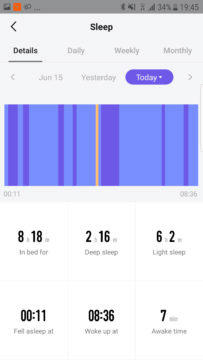 Měření spánku Xiaomi Amazfit 2