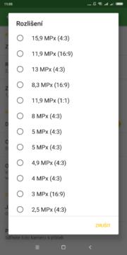 Nastavení rozlišení Výběr role Přihlášení účtem Google Úvodní nastavení Security Camera
