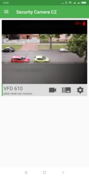 Výběr role Přihlášení účtem Google Úvodní nastavení Security Camera - Přehled sledovaných kamer