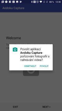Andoku Capture Požadavek na přístup k fotoaparátu