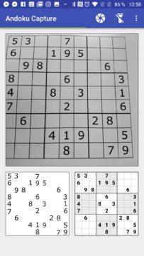 Sudoku bylo rozpoznáno Andoku Capture