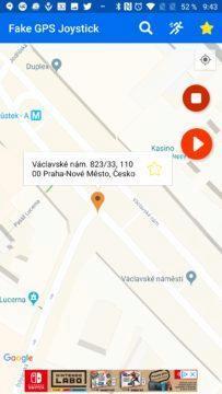 Umístění špendlíku Fake GPS Joystick
