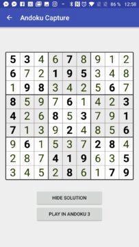 Vyluštěné sudoku Andoku Capture