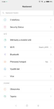 Xiaomi Redmi Note 5 nastavení