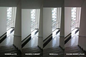 levny telefon fotografie Honor 9 Lite vs Huawei P Smart vs Nokia 6.1 vs Xiaomi Redmi 5 Plus - chodba