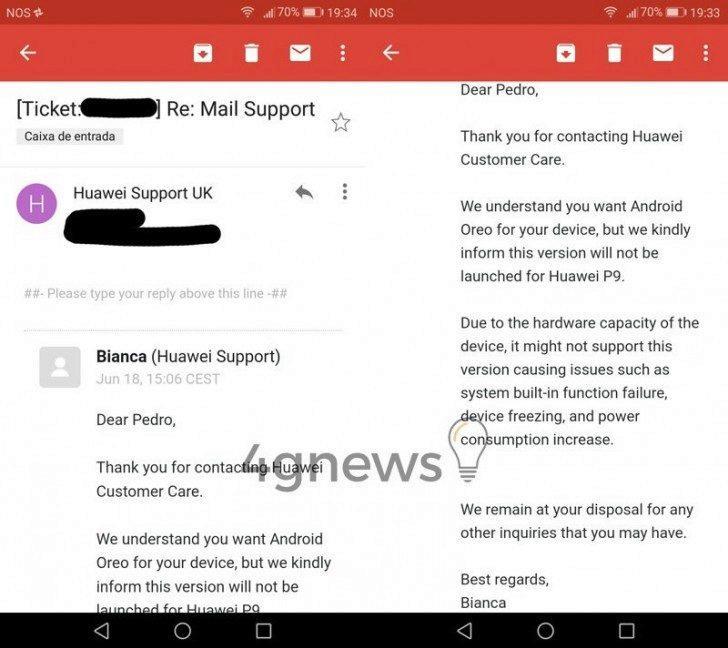mobil huawei p9 android oreo aktualizace nebude